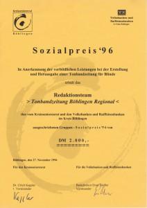 Urkunde zur Verleihung des Sozialpreises 1996
