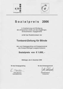 Urkunde zur Verleihung des Sozialpreises 2006