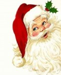 rotbackiger Weihnachtsmann mit langem Bart und Zipfelmütze